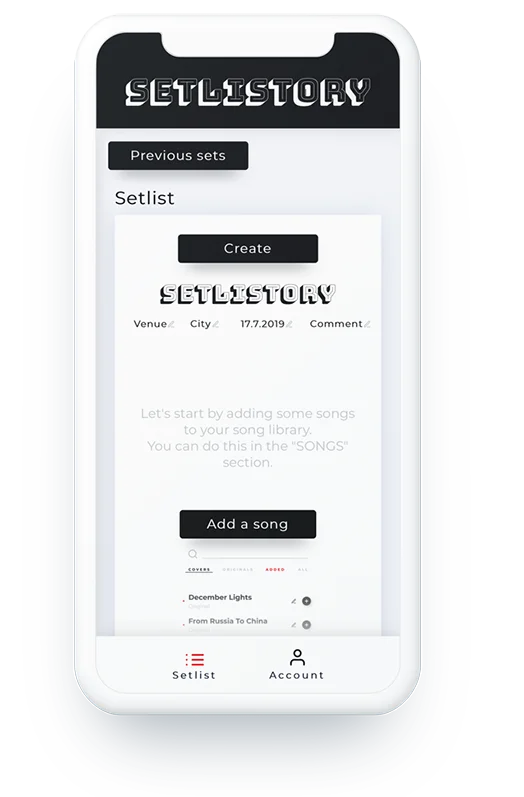Setlistory Mobile View